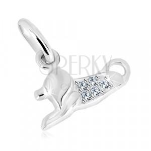 925 silver pendant - glittery zircons, glossy surface, zodiac sign LION