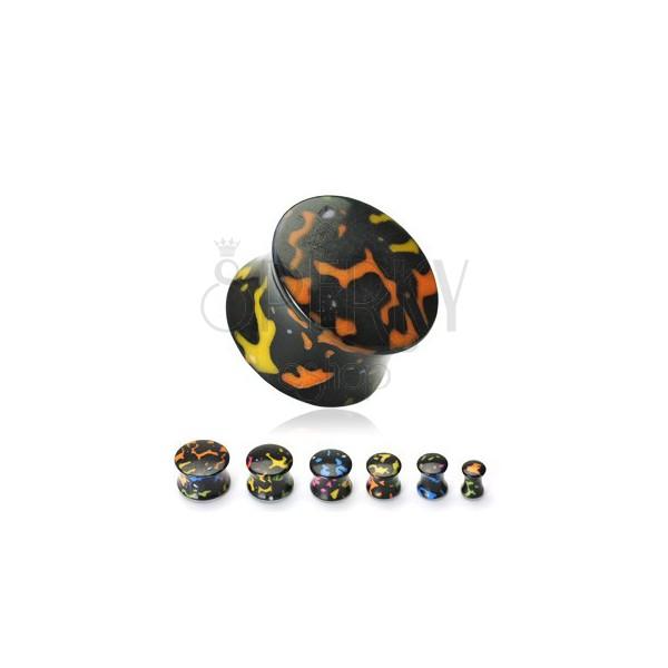 Black acrylic ear plug, colourful spots