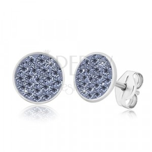 925 silver earrings - glittery circle inlaid with pale blue zircons