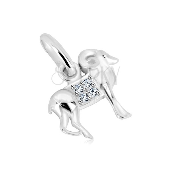 925 silver pendant - transparent zircons, glossy surface, zodiac sign ARIES