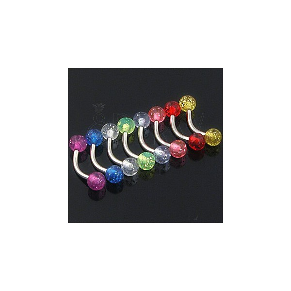 Eyebrow ring - glittering coloured ball beads