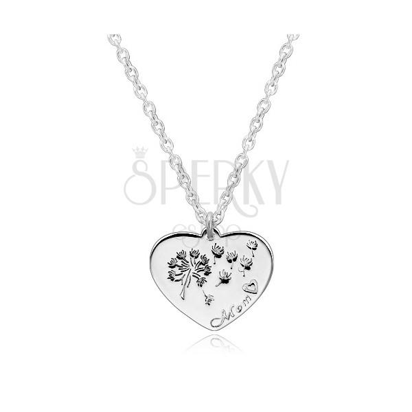 """925 silver necklace - symmetric heart, dandelion blow, inscription """"Mom"""""""