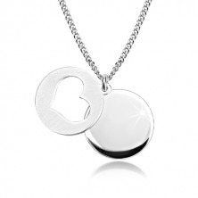 925 silver necklace - glossy circle, matte circle with heart cut-out