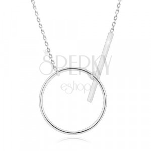 925 silver necklace - glittery chain, glossy circle contour and stick