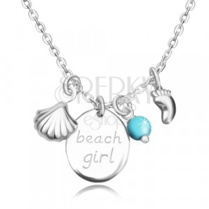 """925 silver necklace - oval with inscription """"beach girl"""", foot-print, sea shell and ball"""