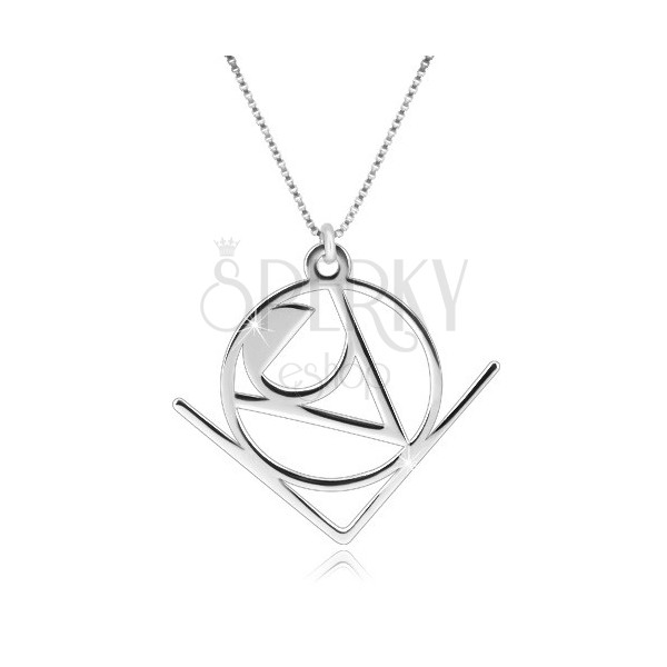"""925 silver necklace - word """"Love"""" with abstract geometric motif"""