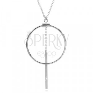 925 silver necklace - chain of oval rings, circle contour and stick on chain