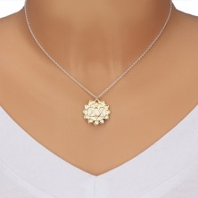 925 silver necklace - glossy heart chakra in gold hue, matte lotus flower