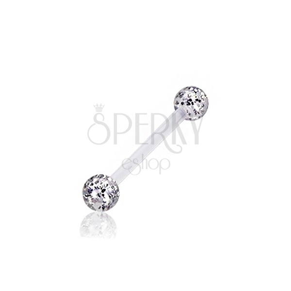 Tongue piercing - transparent balls with glitters of silver colour