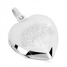 925 silver medallion - symmetric heart with fine engraving, tree of life