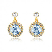 Yellow 9K gold earrings - clear zircon, pale blue zircon with transparent rim