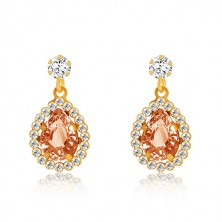 Yellow 375 gold earrings - clear zircon, honey-orange tear, glittery rim