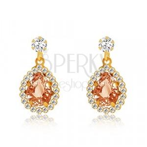 Yellow 375 gold earrings - clear zircon, honey-orange tear, glittery rim