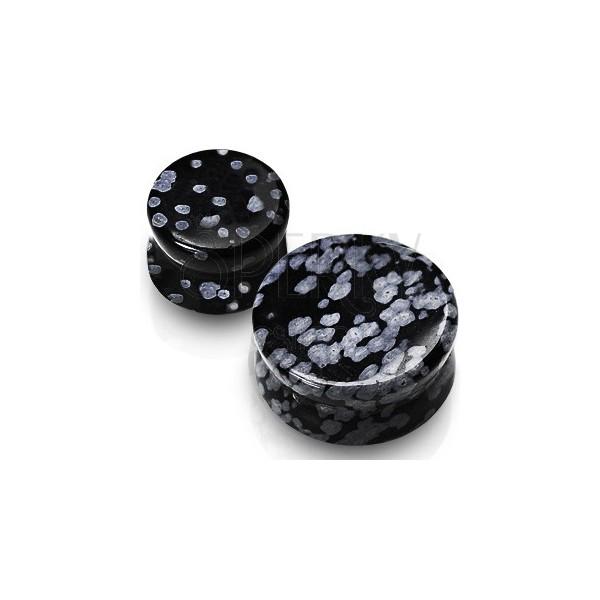 Ear plug – Obsidian, semiprecious stone of a black colour, marbling