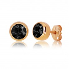 Pink 9K gold earrings - black round zircon, glossy holder, 5 mm