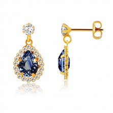 Yellow 9K gold earrings - clear zircon, tear of dark blue colour, glittery rim