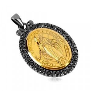 925 silver pendant - Magic medal of gold hue, decorative edge of dark grey colour