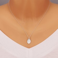 925 silver pendant - flat plate with glossy surface, simple oval