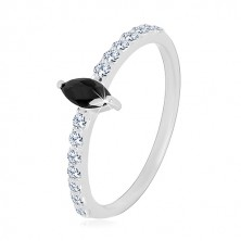 925 silver ring - narrow arms, zircon grain of black colour, clear zircons