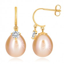 Yellow 14K gold diamond earrings - glossy arch, oval pearl and brilliant