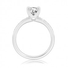 925 silver engagement ring - glossy arms with zircons, bigger zircon in mount
