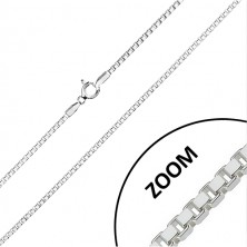 925 silver glittery chain - perpendicularly joined angular rings, 1,8 mm