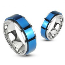 Stainless steel spinning ring - blue colour
