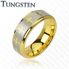 Tungsten ring with cross motive