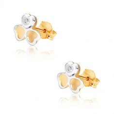Combined 375 gold earrings - two-colour three-leaf, tiny ziron