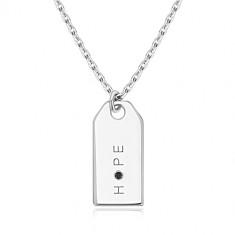 "Black diamond - 925 silver necklace, glossy plate, inscription ""HOPE"""