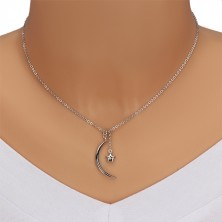 Diamond necklace, 925 silver - glossy halfmoon and star with brilliant