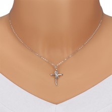 925 silver necklace - glossy cross with symbol of infinity, clear diamonds