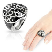 Stainless steel onyx cast ring