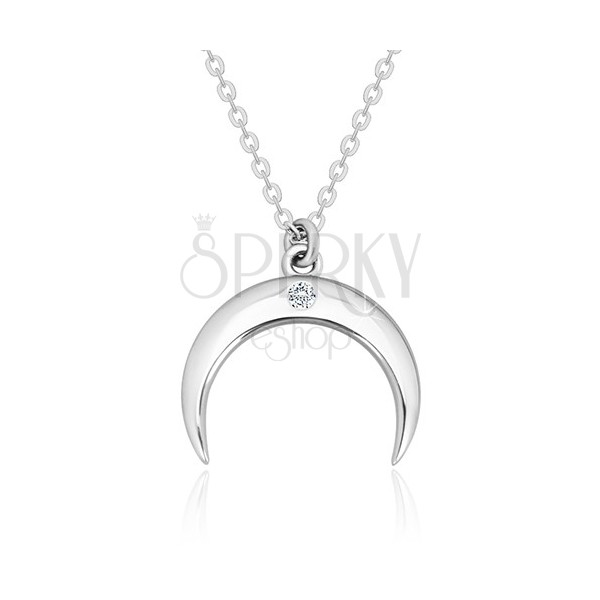 Brilliant necklace, 925 silver - inverted halfmoon with clear diamond