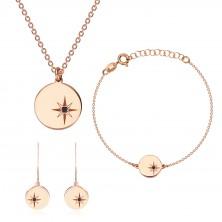 Silver three-piece 925 set of pink-gold colour - north star, black diamond