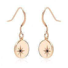 925 silver earrings of pink-gold colour - glossy circle, Polaris, black diamond