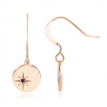 925 silver set, pink-gold hue - bracelet and earrings, circle with Polaris, black diamond