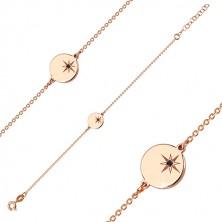 Bracelet of pink-gold colour, 925 silver - glossy circle, north star, black diamond