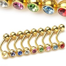 Eyebrow ring - gold colour with zircons