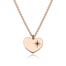 925 silver necklace, pink-gold hue - symmetric heart, Polaris, black diamond