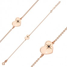 925 silver bracelet of pink-gold colour - glossy heart, north star, black diamond
