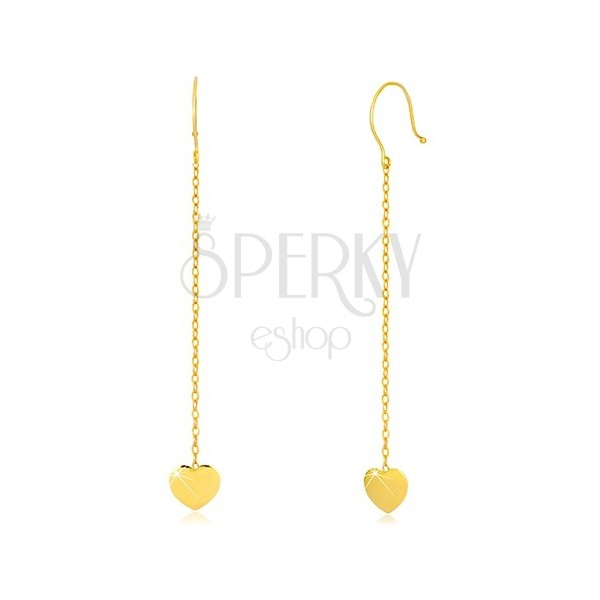 Yellow 9K gold earrings - symmetric heart on chain, Afrohooks