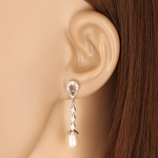 White 9K gold earrings - tear contour, three drops with zircons, white pearl