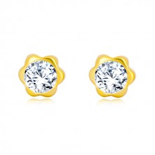 Yellow 585 gold earrings - flower, glittery zircon center, studs with screwbacks