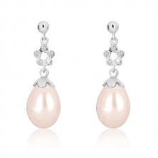 White 9K gold earrings - glossy semi-ball, flower contour with with zircons, white pearl