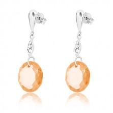 White 375 gold earrings - inverted tear, clear grain, zircon of honey-gold colour