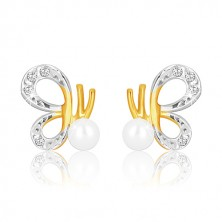 Combined 375 gold earrings - butterfly with carved wings and pearl
