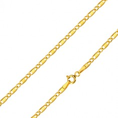Yellow 14K gold chain - oval rings, oblong rings with rectangle, 450 mm
