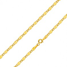 Yellow 585 gold chain - oval rings, oblong elements with stellular notches, 550 mm