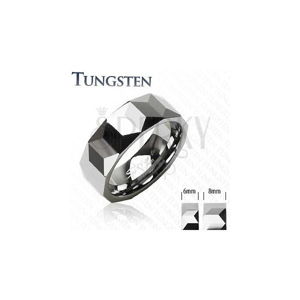 Tungsten ring - prism pattern